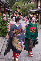 In parts of Kyoto tourists can pay money to rent kimonos and dress up like Geisha for the day. They are then free to wander the streets dressed like a traditional courtesan.