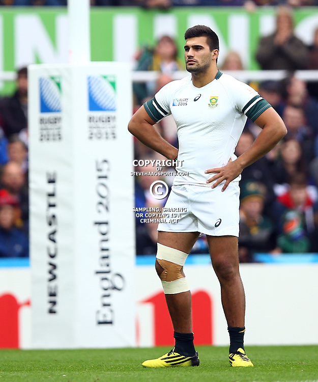 NEWCASTLE UPON TYNE, ENGLAND - OCTOBER 03: Damian De Allende of South Africa during the Rugby World Cup 2015 Pool B match between South Africa and Scotland at St James Park on October 03, 2015 in Newcastle upon Tyne, England. (Photo by Steve Haag/Gallo Images)