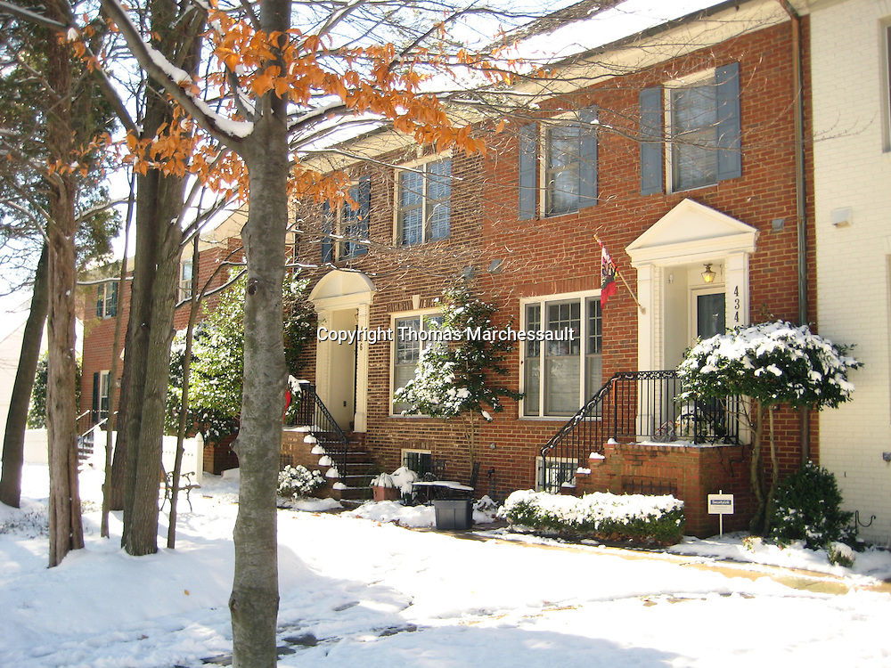 Inspiration Lane townhouses and tree save in winter, Kentlands, Gaithersburg, Maryland