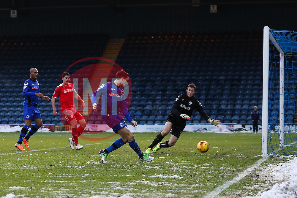 Rochdale's Ian Henderson scores Rochdale's second goal  - Photo mandatory by-line: Matt McNulty/JMP - Mobile: 07966 386802 - 17.01.2015 - SPORT - Football - Rochdale - Spotland Stadium - Rochdale v Crawley Town - Sky Bet League One