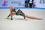 Alina Maksimenko during final at ribbon in the Pesaro World Cup at the Adriatic Arena on 28 April, 2013.<br />