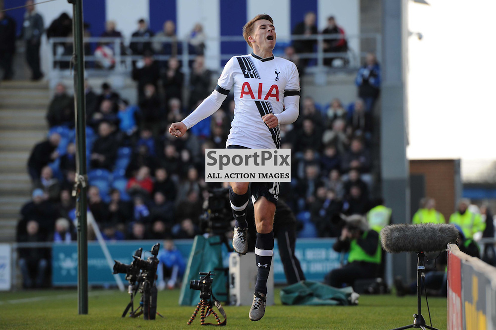Tottenhams Tom Carroll celebrating scoring his sides fourth goal during the Colchester v Tottenham game in the FA Cup 4th Round on the 30th January 2016.