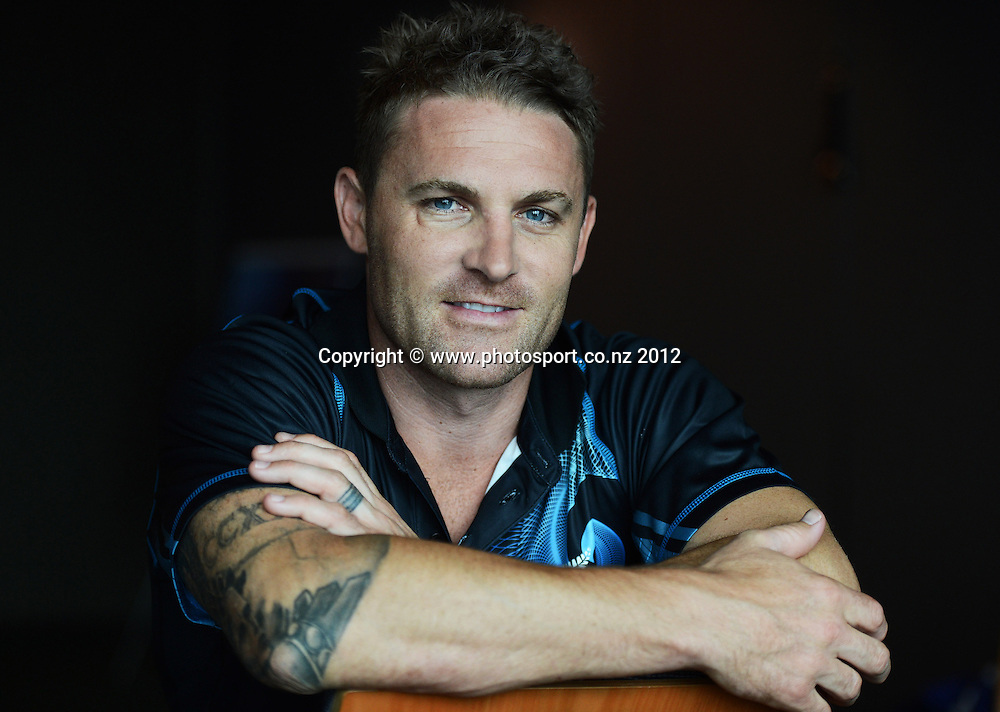 New Zealand Cricket Captain Brendon McCullum poses for a portrait after a press conference before the team's departure to South Africa, Novotel Hotel. Tuesday 11 December 2012. Photo: Andrew Cornaga/Photosport.co.nz