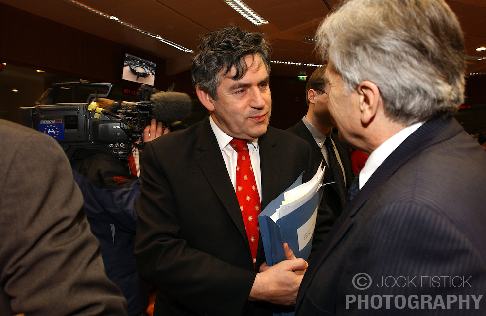 BRUSSELS, BELGIUM - MARCH-07-2005 - Gordon Brown, UK's Finance Minister speaks with a colleague during ECOFIN, the meeting of all the EU Finance and Economic Ministers, Monday, March 7, 2005, in Brussels, Belgium. (Photo © Jock Fistick)