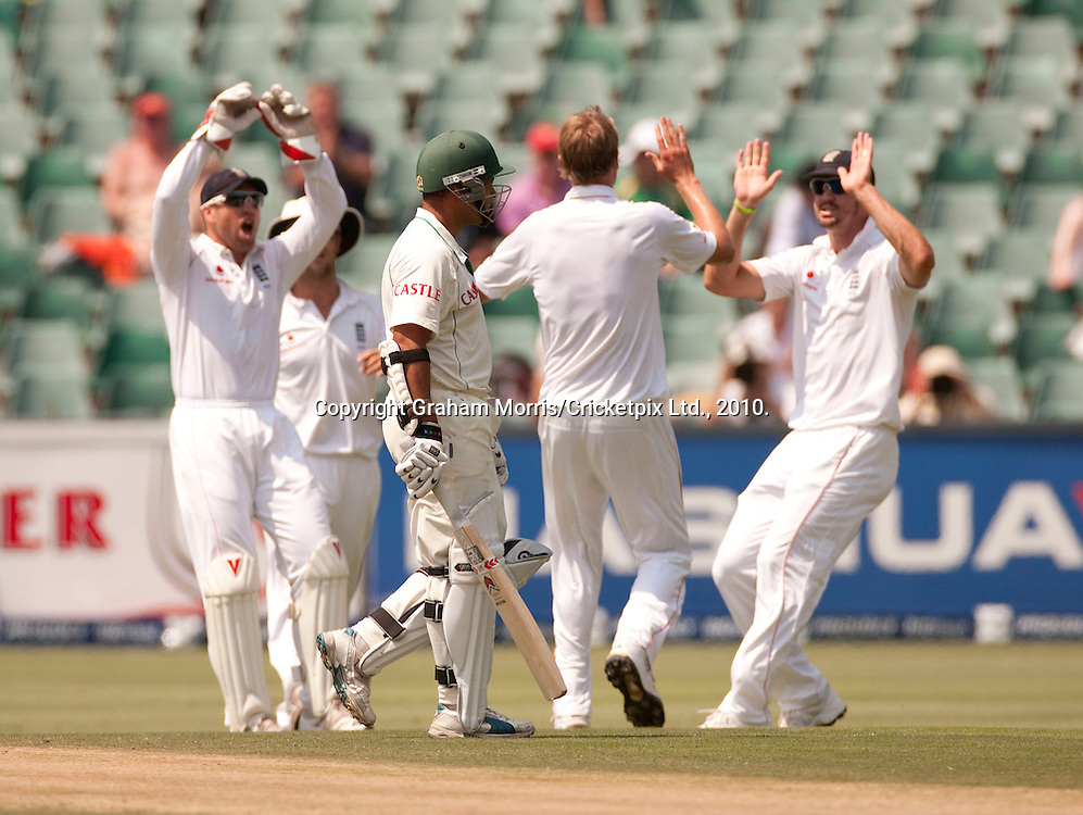 Ashwell Prince walks off after being caught during the fourth and final Test Match between South Africa and England at the Wanderers Stadium, Johannesburg. Photograph © Graham Morris/cricketpix.com (Tel: +44 (0)20 8969 4192; Email: sales@cricketpix.com)