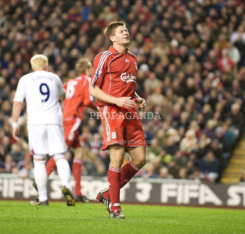 LIVERPOOL, ENGLAND - Wednesday, March 5, 2008: Liverpool's captain Steven Gerrard MBE rues a missed chance against West Ham United during the Premiership match at Anfield. (Photo by David Rawcliffe/Propaganda)