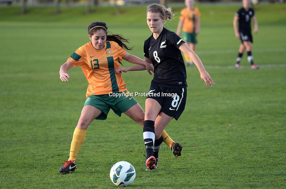 Hannah Hoeksema (R) and Australia's Mackenzie Arnold. Junior Football Ferns v Young Matildas. Kristin School, Albany. Thursday 25 July 2013. Photo: Andrew Cornaga/Photosport.co.nz