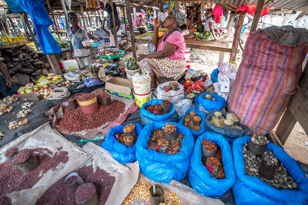 Produce fill the market in Ganta, Liberia