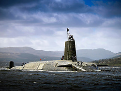 UK HMNB Clyde -- 17 Apr 2014 -- The Royal Navy Vanguard Class submarine HMS Vigilant returning to HMNB Clyde after her extended deployment. The four Vanguard-class submarines form the UK's strategic nuclear deterrent force. Each of the the four boats is armed with Trident 2 D5 nuclear missiles. Like all submarines the Vanguard Class are steam powered, their reactors converting water into steam to drive the engines and generate electricity. EXPA Pictures © 2016, PhotoCredit: EXPA/ Photoshot/ Thomas McDonald/Atlas Photo Arch<br /><br />*****ATTENTION - for AUT, SLO, CRO, SRB, BIH, MAZ only*****