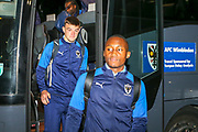 AFC Wimbledon players arrive before the EFL Trophy match between Southend United and AFC Wimbledon at Roots Hall, Southend, England on 13 November 2019.