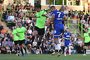 Leeds United's Kemar Roofe(7) heads wide during the Pre-Season Friendly match between Forest Green Rovers and Leeds United at the New Lawn, Forest Green, United Kingdom on 17 July 2018. Picture by Alan Franklin.