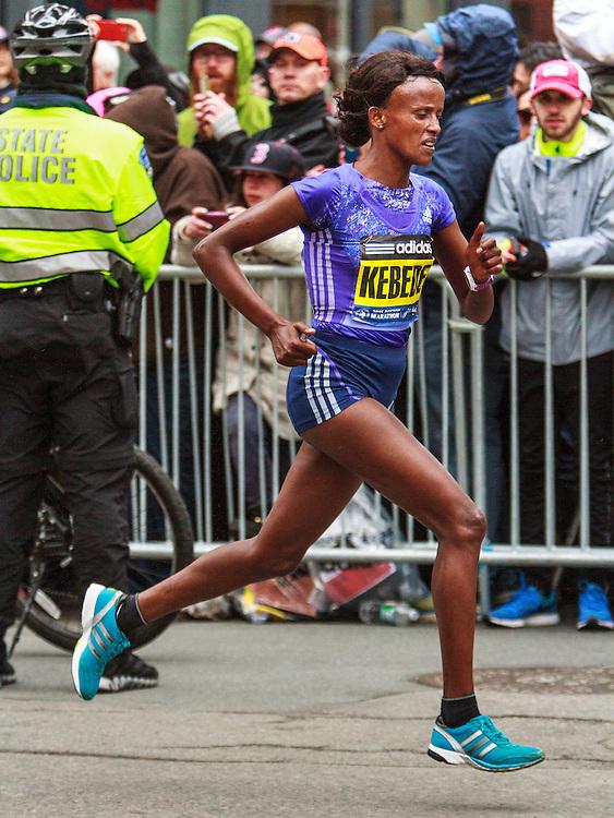 Boston Marathon: Aberu Kebede with 200 meters to go