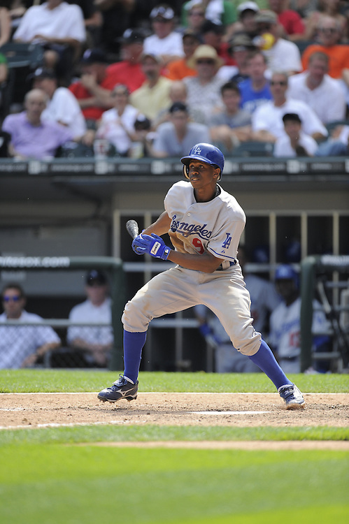 CHICAGO - JUNE 25:  Juan Pierre #9 of the Los Angeles Dodgers bats against the Chicago White Sox on June 25, 2009 at U.S. Cellular Field in Chicago, Illinois.  The White Sox defeated the Dodgers 6-5 in 13 innings.  (Photo by Ron Vesely)