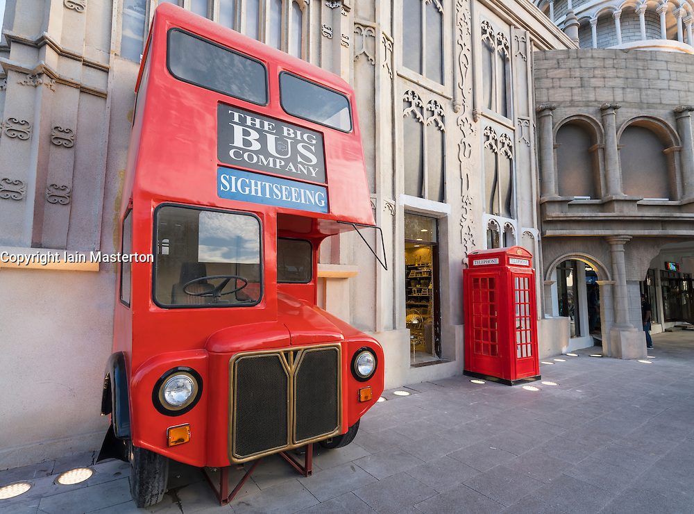 Red London double decker bus and post box at pavilion at Global Village 2015 in Dubai United Arab Emirates