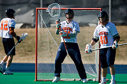Virginia Goalie Mark Wade (21) warms up before playing Navy.  The Virginia Cavaliers scrimmaged the Navy Midshipmen in lacrosse at the University Hall Turf Field  in Charlottesville, VA on February 2, 2008.