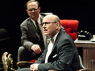 J. Gary Thompson (left) and K.L.Storer during a dress rehearsal of A Case of Libel at the Dayton Theatre Guild in Dayton, Wednesday, May 19, 2010.