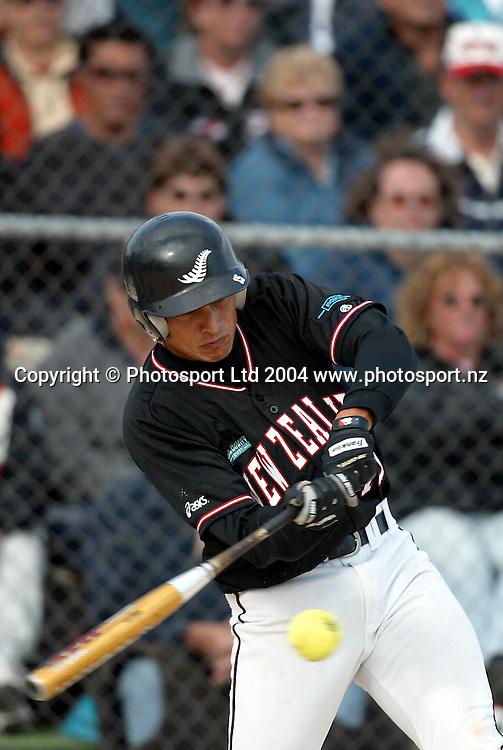 5 February 2004, ISF Men's Softball World Championships, Christchurch, New Zealand.<br />New Zealand Black Sox vs Canada.<br />Brad Rona snacks the ball. The Black Sox lost 4-5.<br />Pic: Sandra Teddy/Photosport