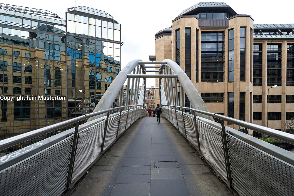 Pedestrian footbridge linking Exchange Crescent with Rutland Square in central Edinburgh, Scotland ,UK