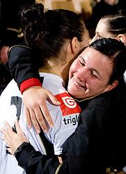 Szandra Zacsik of Krim and Urska Vidic at handball match of Round 2 of Champions League between RK Krim Mercator and Aalborg DH, on October 31, 2009, in Arena Kodeljevo, Ljubljana, Slovenia.  Krim won 30:23. (Photo by Vid Ponikvar / Sportida)