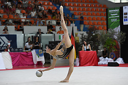 July 28, 2018 - Chieti, Abruzzo, Italy - Rhythmic gymnast Milena Baldassarri of Italy performs her ball routine during the Rhythmic Gymnastics pre World Championship Italy-Ukraine-Germany at Palatricalle on 29th of July 2018 in Chieti Italy. (Credit Image: © Franco Romano/NurPhoto via ZUMA Press)