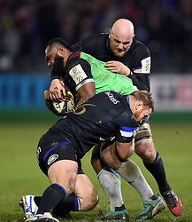 Vereniki Goneva of Harlequins is double-tackled by Ross Batty and Matt Garvey of Bath Rugby - Mandatory byline: Patrick Khachfe/JMP - 07966 386802 - 10/01/2020 - RUGBY UNION - The Recreation Ground - Bath, England - Bath Rugby v Harlequins - Heineken Champions Cup