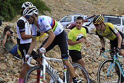 World Champion Alejandro Valverde (ESP) Movistar Team and Primoz Roglic (SLO) Team Jumbo-Visma on the final Cat 1 climb up to Observatorio Astrofisico de Javalambre during Stage 5 of La Vuelta 2019 running 170.7km from L'Eliana to Observatorio Astrofisico de Javalambre, Spain. 28th August 2019.<br /> Picture: Eoin Clarke | Cyclefile<br /> <br /> All photos usage must carry mandatory copyright credit (© Cyclefile | Eoin Clarke)