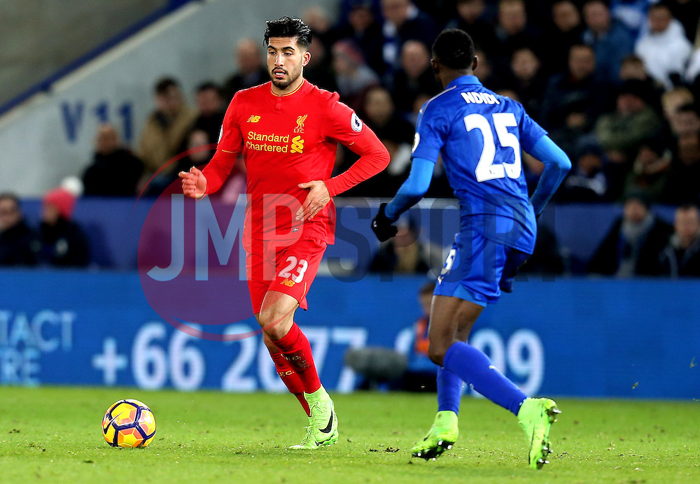 Emre Can of Liverpool takes on Wilfred Ndidi of Leicester City - Mandatory by-line: Robbie Stephenson/JMP - 27/02/2017 - FOOTBALL - King Power Stadium - Leicester, England - Leicester City v Liverpool - Premier League