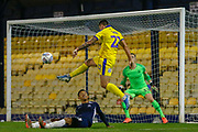 AFC Wimbledon forward Tommy Wood (22) in front of goal during the EFL Trophy match between Southend United and AFC Wimbledon at Roots Hall, Southend, England on 13 November 2019.