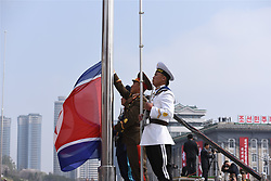 PYONGYANG, April 15, 2017  Soldiers attend a flag-raising ceremony during a military parade in central Pyongyang, April 15, 2017. The Democratic People's Republic of Korea (DPRK) Saturday showcased its military muscles by parading all of its most-advanced ballistic and tactic missiles, including a submarine-launched ballistic missile which could strike targets 1000 km away.  wtc) (Credit Image: © Cheng Dayu/Xinhua via ZUMA Wire)