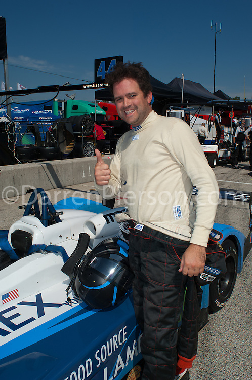 Antonio Downs Celebrates his Pole Position - #4 Eurosport Racing Prototype Lite: Antonio Downs