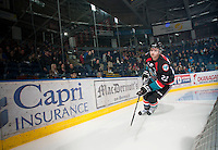KELOWNA, CANADA - OCTOBER 18:  MacKenzie Johnston #22 of the Kelowna Rockets skates behind the net on the ice as the Prince George Cougars visit the Kelowna Rockets on October 18, 2012 at Prospera Place in Kelowna, British Columbia, Canada (Photo by Marissa Baecker/Shoot the Breeze) *** Local Caption ***