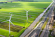Nederland, Zuid-Holland, Stompwijk, 23-10-2013; A4 tussen Leiden en Leidschendam, zicht op het Groene Hart met windturbines en windmolen.<br /> Close-up motorway A4 and green polder in the West of the netherlands, the Green Heart.<br /> luchtfoto (toeslag op standaard tarieven);<br /> aerial photo (additional fee required);<br /> copyright foto/photo Siebe Swart.