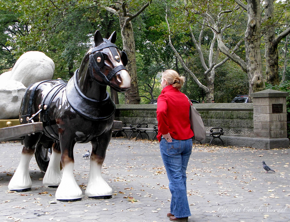 """Perceval"", a life-sized horse and cart by artist Sarah Lucas at The Doris Fereedman Plaza in Central Park."