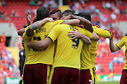 Burnley striker, Sam Vokes (09) celebrating scoring opening goal 0-1 during the Sky Bet Championship match between Charlton Athletic and Burnley at The Valley, London, England on 7 May 2016. Photo by Matthew Redman.