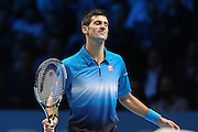 Novak Djokovic celebrates during the final of the ATP World Tour Finals between Roger Federer of Switzerland and Novak Djokovic at the O2 Arena, London, United Kingdom on 22 November 2015. Photo by Phil Duncan.
