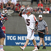Eric Law #15 of the Denver Outlaws is seen during the game at Harvard Stadium on May 10, 2014 in Boston, Massachusetts. (Photo by Elan Kawesch)