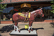 Fiberglass quarter horse Lightning on display outside F.M. Light western outfitters in Steamboat Springs, Colorado. The horse has been outside the store since 1949.