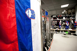 Flag in Slovenian wardrobe prior to the ice-hockey match between Slovenia and Latvia of IIHF 2011 World Championship Slovakia, on May 5, 2011 in Orange Arena, Bratislava, Slovakia.  (Photo By Vid Ponikvar / Sportida.com)