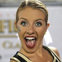 ORLANDO, FL - OCTOBER 14: A UCF cheerleader plays to the camera during a NCAA football game between the East Carolina Pirates and the UCF Knights at Spectrum Stadium on October 14, 2017 in Orlando, Florida. (Photo by Alex Menendez/Getty Images)