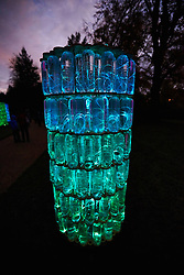 © Licensed to London News Pictures.  13/11/2013. AYLESBURY, UK. A light installation by artist Bruce Munro (not pictured). The piece called Water Towers is made from recycled bottles and reacts to music being played by speakers hidden inside each tower. It is one of six and part of the Winter Light event at Waddesdon Manor which runs from today until 1st January 2014. Photo credit: Cliff Hide/LNP