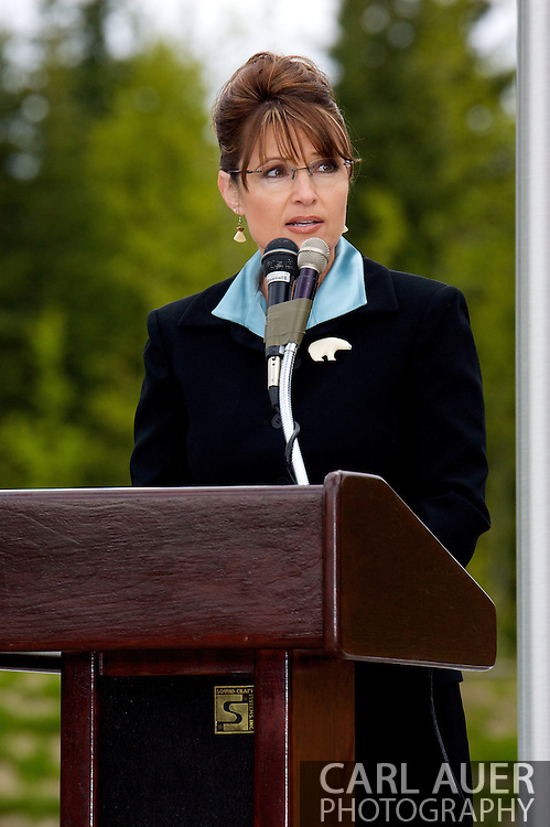 Alaska Gov. Sarah Palin at the 2007 Memorial Day ceremony at Ft. Richardson Alaska