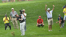 August 12, 2018 - St. Louis, Missouri, U.S. - ST. LOUIS, MO - AUGUST 12: Adam Scott hits his second shot on the #1 fairway during the final round of the PGA Championship on August 12, 2018, at Bellerive Country Club, St. Louis, MO.  (Photo by Keith Gillett/Icon Sportswire) (Credit Image: © Keith Gillett/Icon SMI via ZUMA Press)