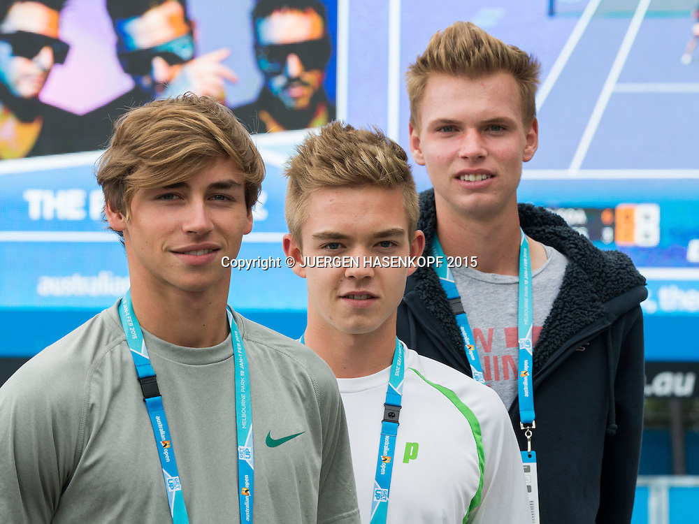 Fabian Fallert, Tim Sandkaulen und Louis Wessels<br /> <br /> Tennis - Australian Open 2015 - Grand Slam ATP / WTA -  Melbourne Olympic Park - Melbourne - Victoria - Australia  - 30 January 2015.