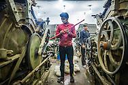 Pashmina goes through the dehairing process at Valley Wool Ltd factory at Zakura Industrial estate in Srinagar, Kashmir, India on Tuesday, August 25, 2015.Photographer: Prashanth Vishwanathan/Bloomberg