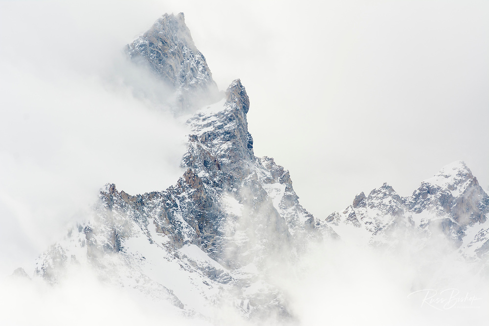 Clearing winter storm over Teewinot Mountain, Grand Teton National Park, Wyoming USA