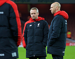 LONDON, ENGLAND - Friday, March 4, 2016: Liverpool's manager Neil Critchley and Rob Jones look dejected after the defeat to Arsenal during the FA Youth Cup 6th Round match at the Emirates Stadium. (Pic by Paul Marriott/Propaganda)