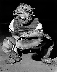 Backcatcher for the Victoria Mussels baseball team poses for a photo.