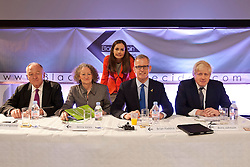© licensed to London News Pictures. London, UK 12/04/2012. Mayoral candidates, Ken Livingstone, Jenny Jones, Siobhan Benita, Brain Paddick and Boris Johnson posing at the Gourmet Theatre, before answering questions of black societies about London's future related to mayoral election in this May. Photo credit: Tolga Akmen/LNP