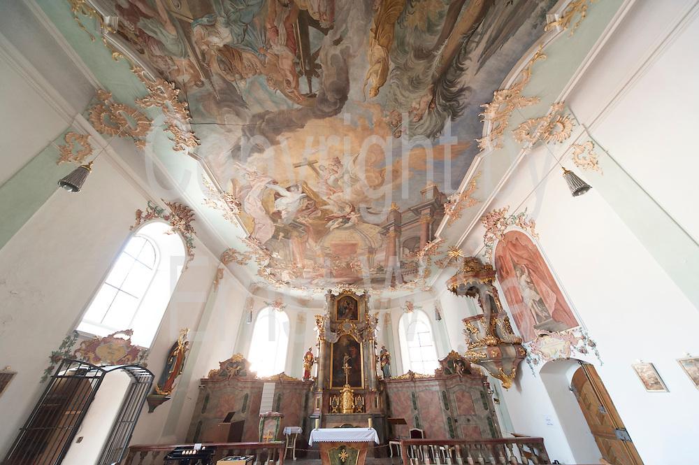 Spitalkirche St. Katharina innen, Deggendorf, Bayerischer Wald, Bayern, Deutschland   St. Catherine church, Deggendorf, Bavarian Forest, Bavaria, Germany