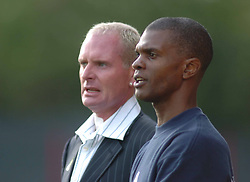 MANAGER PAUL GASCOIGNE AND ASS MANAGER PAUL DAVIES IN CHARGE OF THEIR FIRST GAME 29/10/05PAUL GASCOIGNE GAZZA New Manager of Kettering Town Takes charge of his First game against Droylsden  at Rockingham Road, 29th October 2005 :Photo Mike Capps